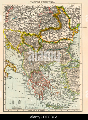 Map of the Balkan peninsula, 1870s. Color lithograph - Stock Photo