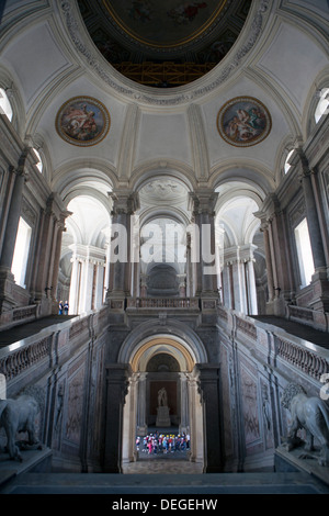 Caserta Royal Palace Entrance hall and stairs of the royal apartments, Royal Palace, Caserta, Campania, Italy, Europe - Stock Photo