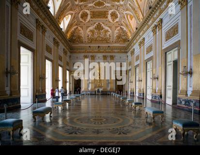 Throne room, Royal Palace, Caserta, Campania, Italy, Europe - Stock Photo