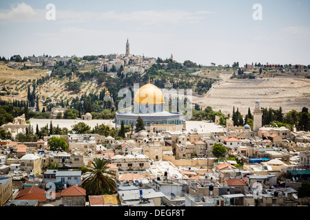 View over the Old City with the Dome of the Rock, UNESCO World Heritage Site, Jerusalem, Israel, Middle East - Stock Photo