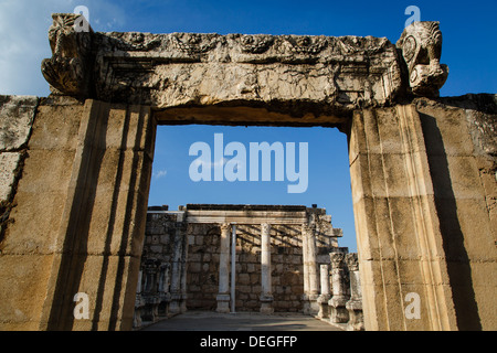 Ruins of the old Synagogue in Capernaum by the Sea of Galilee, Israel, Middle East - Stock Photo