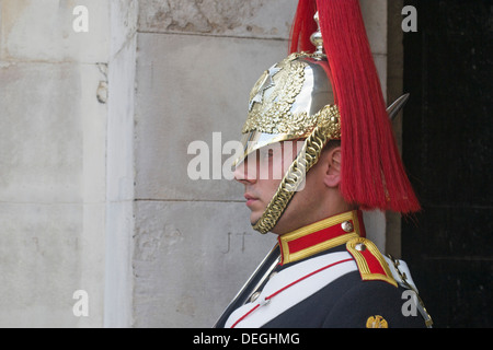 Member of the Household Cavalry, Trooper of the Blues and Royals standing on guard, London, England, UK - Stock Photo