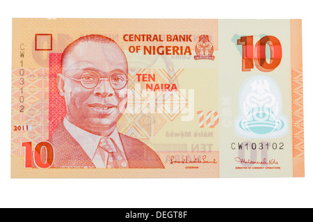 Central Bank of Nigeria 10 Naira polymer (plastic) bank note - Stock Photo