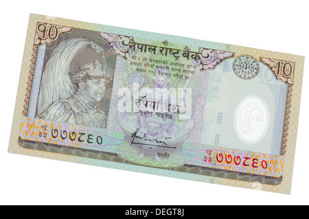 10 Nepalese Rupees polymer (plastic) bank note - Stock Photo
