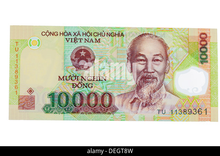 Vietnamese 10000 Dong polymer (plastic) bank note - Stock Photo