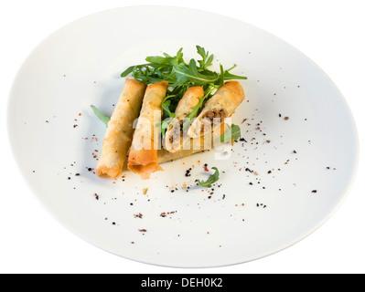 Deep Fried Turkish Cigar Shaped Rolls 'Sigara Boregi' - Stock Photo