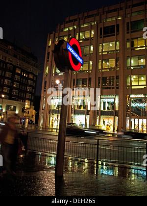 London Underground sign at Knightsbridge Station, London, England, United Kingdom - Stock Photo