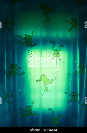 The Frog Curtain Design in Wash Room . - Stock Photo