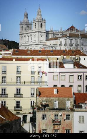 Church of Nossa Senhora da Graça, view on Alfama district from Miradouro Santa Luzia, Lisbon. Portugal - Stock Photo