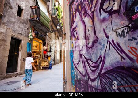 Gothic quarter, Barcelona, Catalonia, Spain - Stock Photo