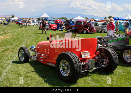 Customised street car on display at a Classic car show, near Grand Junction, Colorado, USA - Stock Photo