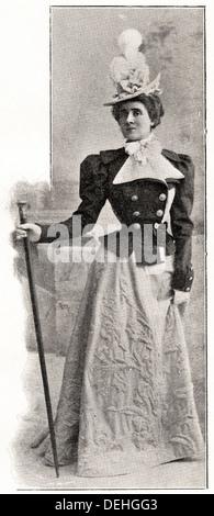 Victorian woman. 1890s Victorian fashion from Paris by designer CALLOT SOEURS circa 1898