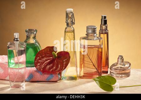 perfumes  in the bathroom - Stock Photo