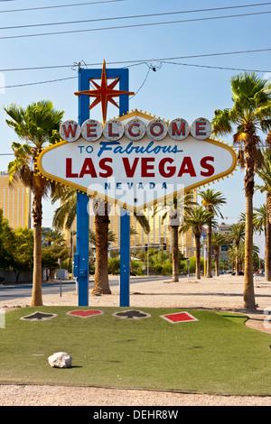 'Welcome to Fabulous Las Vegas' sign on Las Vegas Boulevard South. JMH5451 - Stock Photo