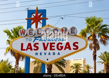'Welcome to Fabulous Las Vegas' sign on Las Vegas Boulevard South. JMH5452 - Stock Photo