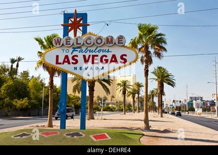 'Welcome to Fabulous Las Vegas' sign on Las Vegas Boulevard South. JMH5453 - Stock Photo
