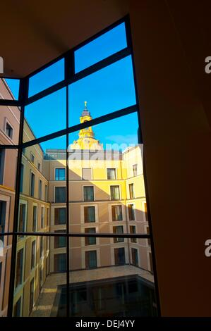 Looking from a courtyard at the Innside by Melia Hotel to the dome called the Stone Bell of the Frauenkirche church, - Stock Photo