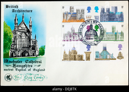 First Day Cover celebrating British Architecture. - Stock Photo