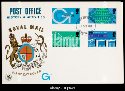 First Day Cover celebrating Post Office History & Activities. - Stock Photo