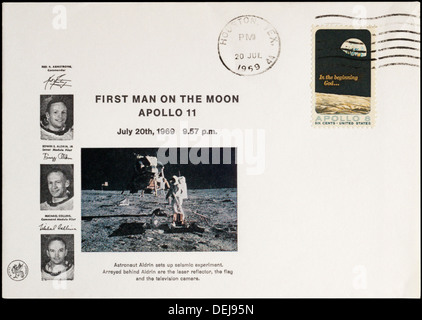 American commemorative cover for the first man on the moon, postmarked at Houston. - Stock Photo