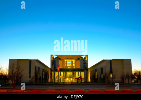 bundeskanzleramt in berlin, germany, at night - Stock Photo