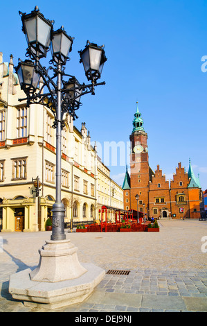 historic center with old city hall in wroclaw, poland - Stock Photo