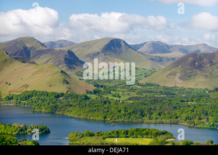 From Latrigg over Derwentwater to Newlands Valley, Cat Bells, Hindsgarth and Robinson, Lake District National Park, - Stock Photo