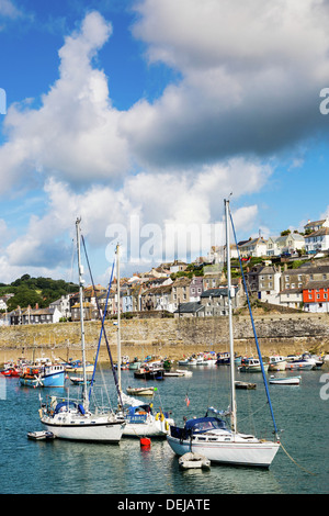 sailing and fishing boats moored in Mevagissey harbour, Cornwall. - Stock Photo