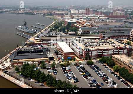 Aerial view of the Navy Yard July 12, 2006 in Washington, DC. - Stock Photo
