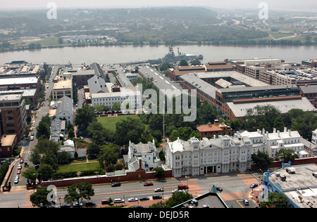 Aerial view of the Navy Yard with the Latrobe Gate July 12, 2006 in Washington, DC. - Stock Photo