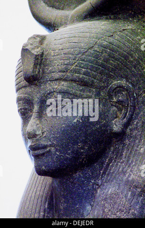 Statue of queen Tiy, wife of Amenhotep III, in the Egyptian Museum of Torino, Italy - Stock Photo