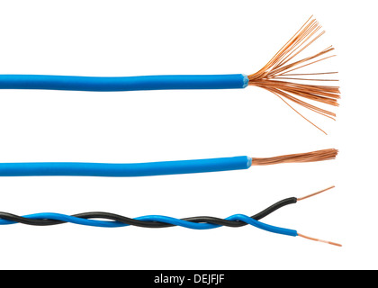 Exposed cables and wires. Studio shot white isolated - Stock Photo