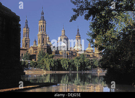The Ebro river and the ´Basilic of the Pilar´ at Zaragoza. Spain. - Stock Photo