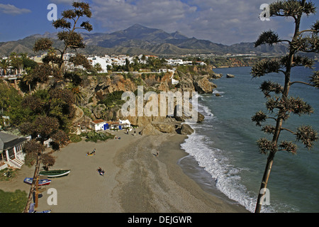 Beach at Nerja, from the ´Balcon de Europa´. Malaga, Andalusie, Spain - Stock Photo