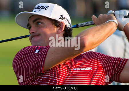 Aug. 21, 2013 - Jersey City, New Jersey, U.S - August 21, 2013: Keegan Bradley (USA) hits from the tee box during - Stock Photo