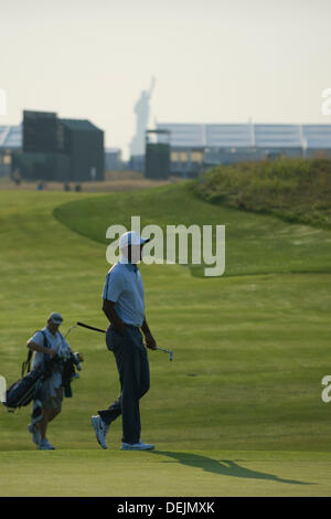 Aug. 21, 2013 - Jersey City, New Jersey, U.S - August 21, 2013: Tiger Woods (USA) casts a shadow during The Barclays - Stock Photo
