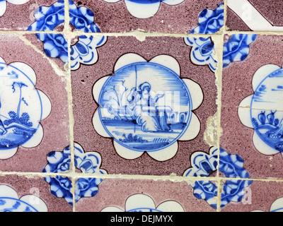 Bathroom detail, dutch tiles at Barrington Court, Ilminster, Somerset , UK TA19 0NQ - Stock Photo