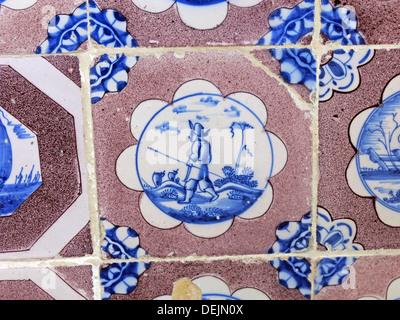 Dutch tiles in bathroom at Barrington Court, Ilminster, Somerset , UK TA19 0NQ - Stock Photo