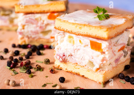 Selective focus in the middle of front cheese appetizer - Stock Photo