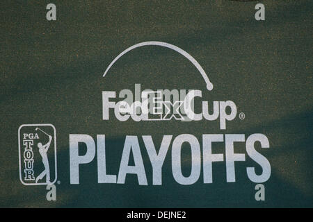 Aug. 21, 2013 - Jersey City, New Jersey, U.S - August 21, 2013: A general view of The FedEx Cup logo during The - Stock Photo