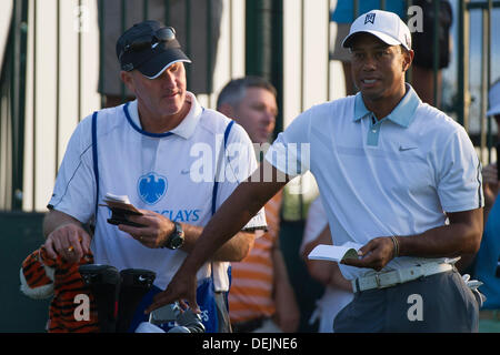 Aug. 21, 2013 - Jersey City, New Jersey, U.S - August 21, 2013: Tiger Woods (USA) grinds his teeth before teeing - Stock Photo