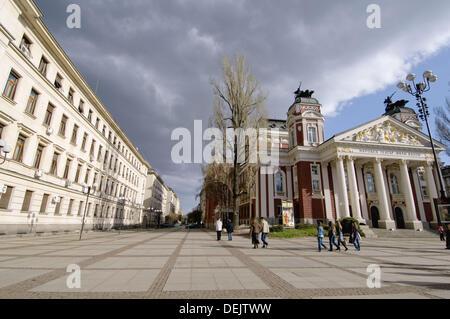 Sofia, capital of Bulgaria, Ivan-Vasov-National-Theatre, Bulgaria - Stock Photo