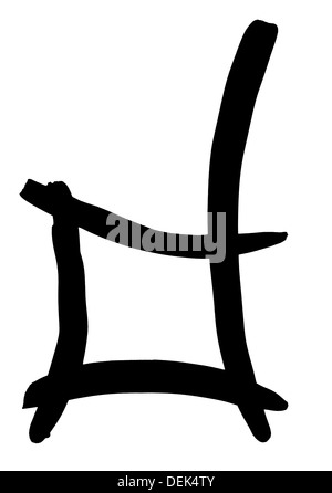 letter D hand written in black ink on white background - Stock Photo