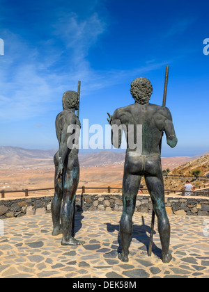 Statues of Guise and Ayose Parque Rural Fuerteventura Canary Islands Spain - Stock Photo