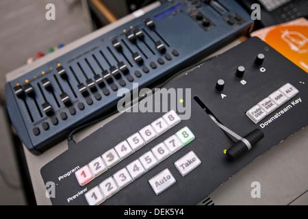 Close-up sound recording equipment television studio - Stock Photo