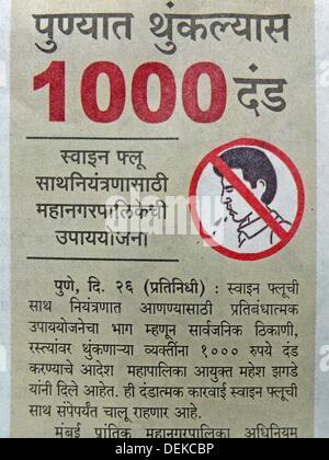 Article on Swine flu in Marathi, Regional language newspaper - Stock Photo