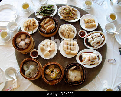 Chinese food in a restaurant. Vancouver, British Columbia, Canada - Stock Photo