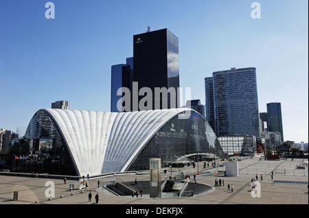 CNIT conference centre and modern office buildings in La Defense district, Paris, France - Stock Photo