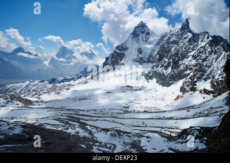 View from Renjo La pass, Nepalese Himalayas, Everest Region, looking towards Gokyo (out of frame to left) - Stock Photo