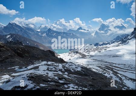 View from Renjo La pass, Nepalese Himalayas, Everest Region, looking towards Gokyo - Stock Photo
